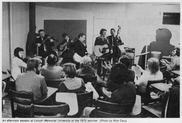LMU Seminar from 1975 with Danny Marshall on guitar. Photo by Rick Cary